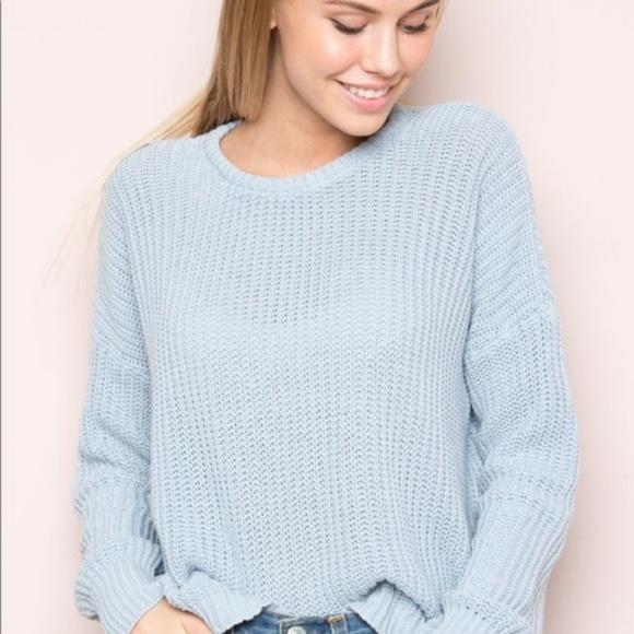 Brandy Melville Sweaters - Brandy Melville Blue Knit Sweater d05cf2ce0
